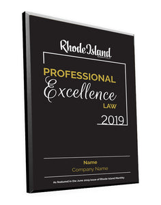 Professional Excellence in Law Award Plaque