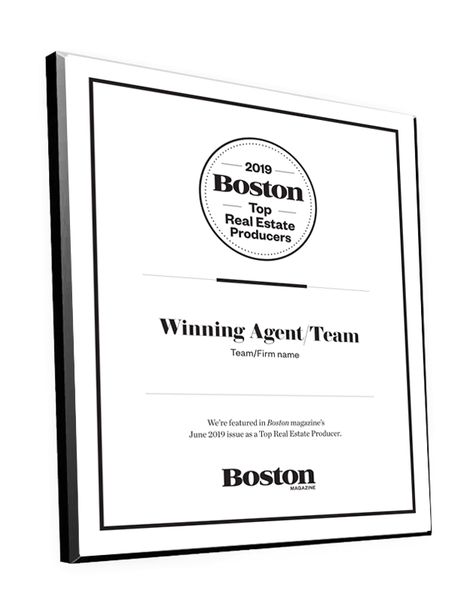 Boston Magazine Top Real Estate Producers Plaques