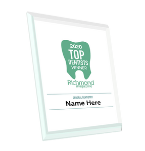 "Richmond Magazine ""Top Dentists"" Logo Award Glass Plaque by NewsKeepsake"