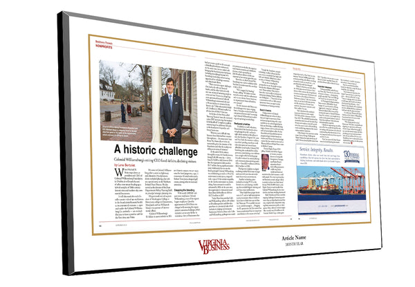 Virginia Business Cover / Article Plaque
