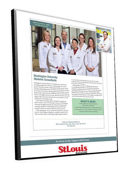 St. Louis Magazine Doctor Profile Plaque