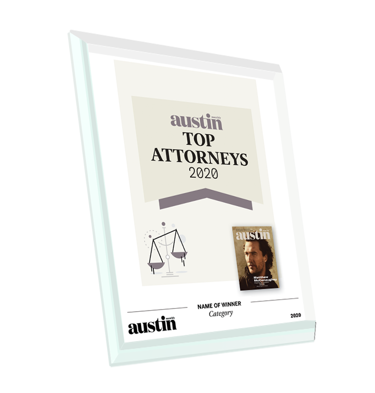 "Austin Monthly ""Top Attorneys"" Glass Cover Award Plaque"