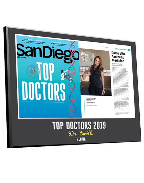 "San Diego Magazine ""Top Doctors"" Award Plaques"
