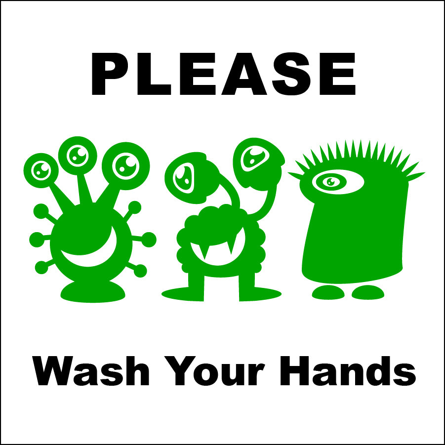 Please Wash Your Hands Bathroom Sign with Green Germs by NewsKeepsake