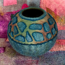 "Load image into Gallery viewer, ""Aqua Lava"" wool vessel"