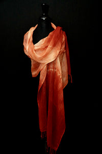 """Lorelei"" Shibori wool and silk wrap"