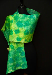 """Galway"" hand painted & hand dyed silk and merino wool wrap"