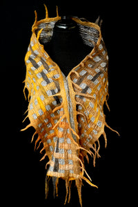 """Goldie Luxe"" merino and metallic silk organza scarf"