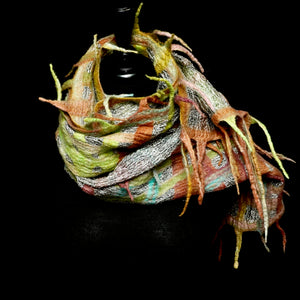 """Kalahari Luxe"" merino and metallic silk organza scarf"
