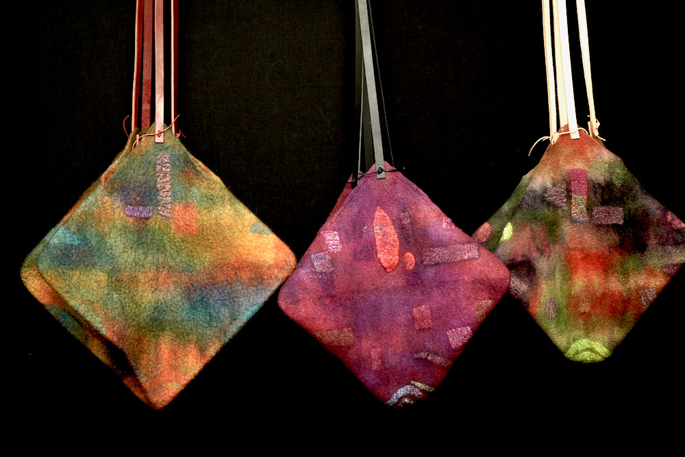 3 Market Bags: #1 (left) - warm fall colors; #2 (middle) cranberry/purple color; #3 ((right) bright fall colors