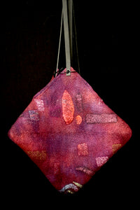 Bag #2: cranberry/purple colors with black leather straps