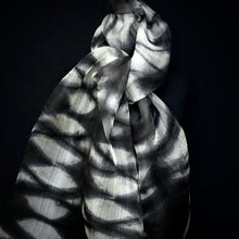 "Load image into Gallery viewer, ""Savannah"" Shibori hand dyed silk organza wrap"