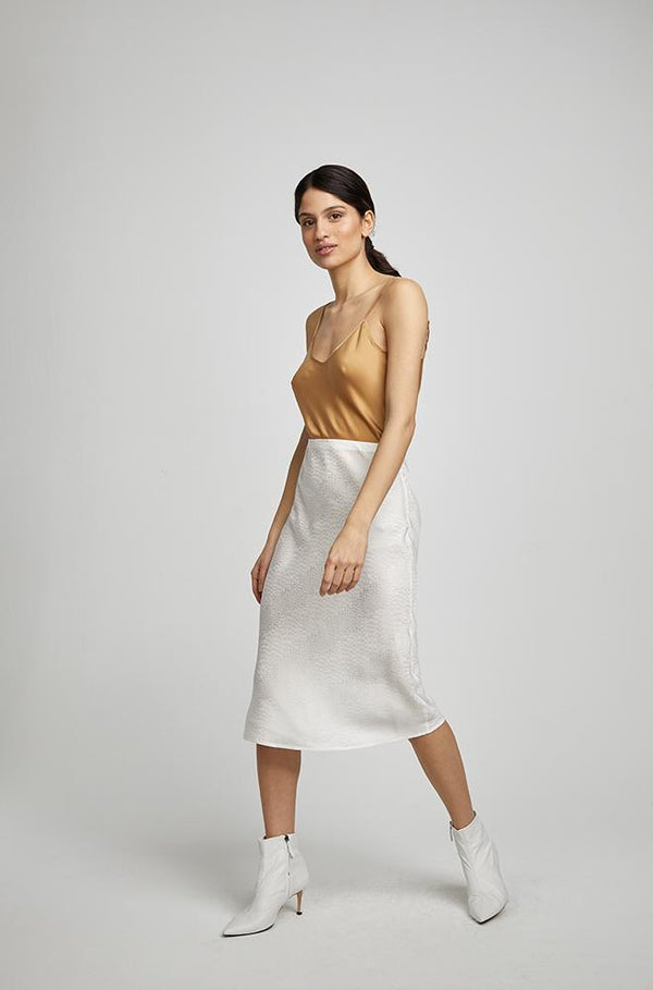 BIAS CUT SKIRT IVORY JACQUARD