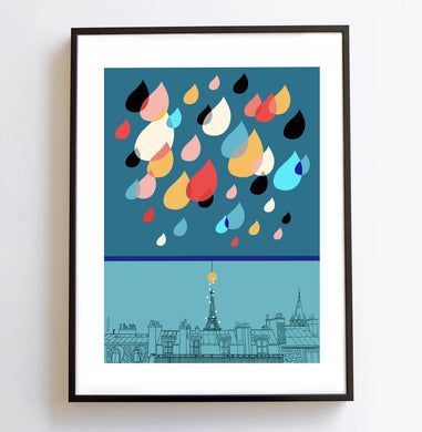 Illustration Pluie Parisienne version bleue