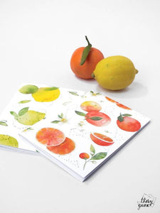 Petit carnet aquarelle citron orange, A6