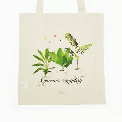 Greener Everyday - coton bio tote bag illustré