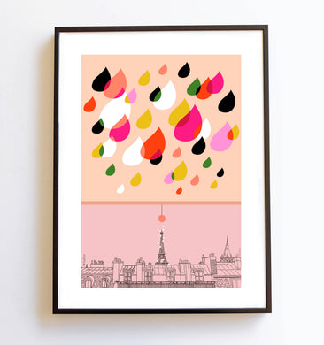 illustration Pluie Parisienne version rose