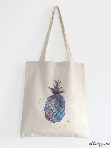 Tote bag illustré Ananas tropical turquoise, Tote bag aquarelle coton