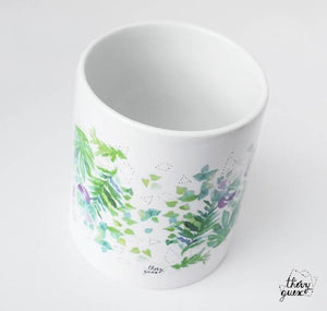 Mug illustré monstera plantes tropicales aquarelle