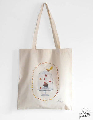 Tote bag illustré aquarelle Cupcake Oiseau, Sac aquarelle gourmand