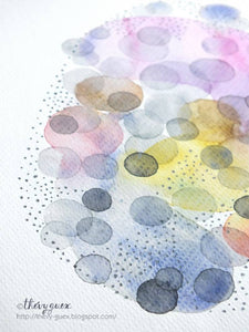 Aquarelle originale pois multicolores, Art géométrique abstrait