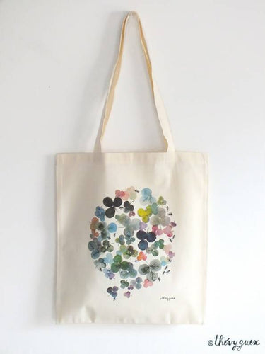 Sac tote bag coton bio illustré, Aquarelle fleur