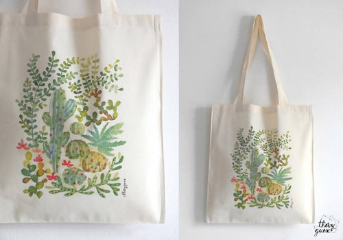 Tote bag Cactus plantes grasses, Sac coton bio aquarelle jungle