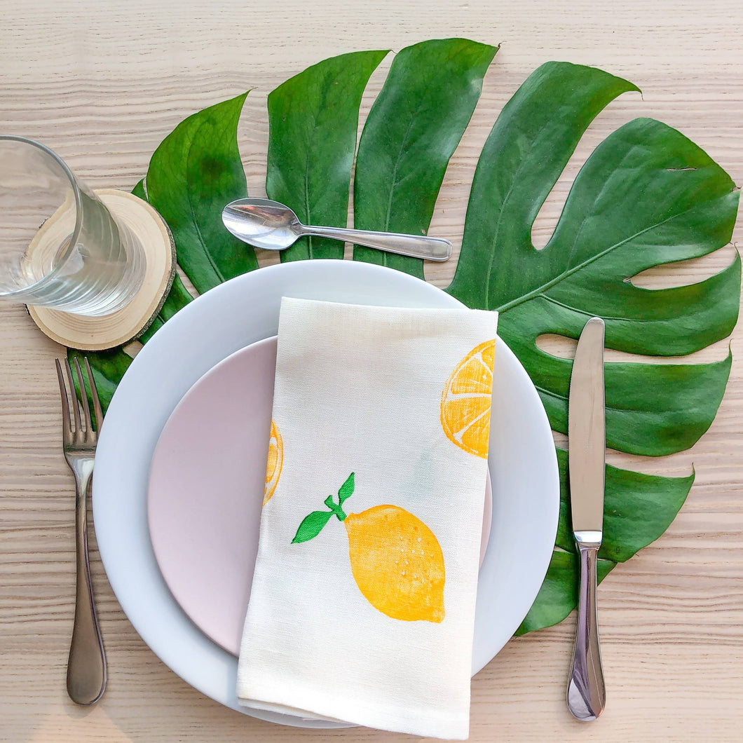Serviette de table en lin - Imprimé de citrons
