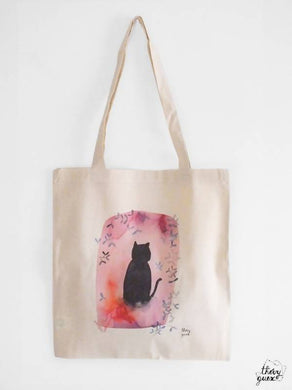 Sac illustré Chat noir fleur rose, Tote bag coton bio aquarelle
