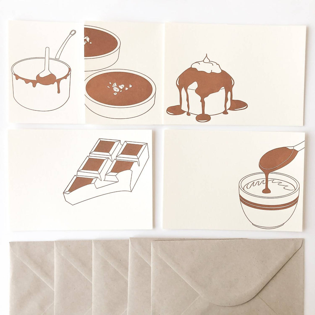 Set de 5 cartes chocolatées