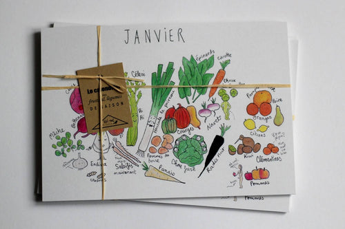Le grand calendrier illustré des fruits et légumes de saison - lot de 12 cartes format A5