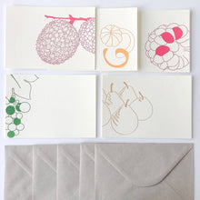 Charger l'image dans la galerie, Set de 5 cartes motifs fruits