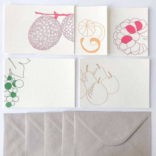 Set de 5 cartes motifs fruits