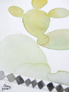 Aquarelle originale cactus sous cloche, Illustration, Oeuvre unique