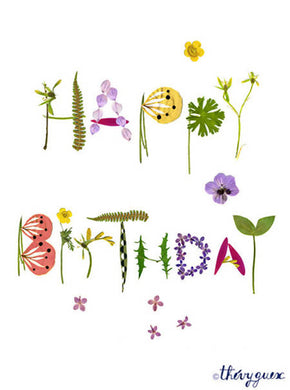 Carte Happy Birthday fleur herbier