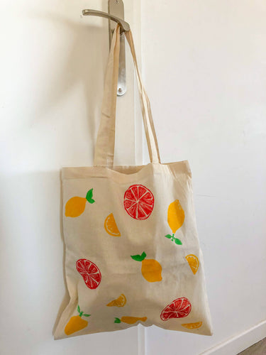 Tote bag citrons et oranges
