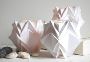 Bougeoirs Origami - Pack de 3 - Blanc