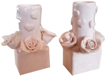 Tabletop Art Ceramic Candle Holder Hearts and Flowers Hand-Crafted Cream Color
