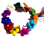 Toy Flower Terecitas Crown Crepe Paper Multiple Colorful Curled Ribbon Tails Party Playtime