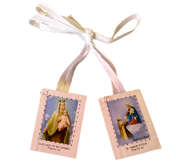 Scapular Our Lady of Mount Carmel and Saint Simon Stock White and Brown Whool Laminated With White Cord