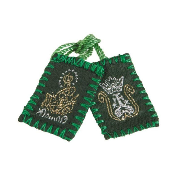 Scapular Immaculate Heart Of Our Lady Stitched Image Green Wool With Green Cord