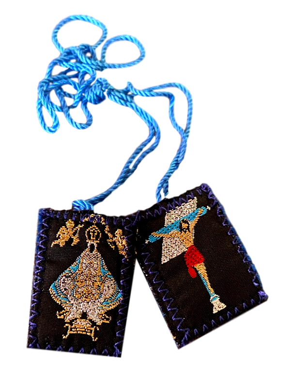 Scapular Virgen De San Juan De Los Lagos Colored Stitched Image Blue Wool With Blue Cord