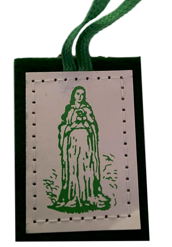 Scapular Immaculate Mother Mary Single Badge Stitched Green Wool With Green Cord