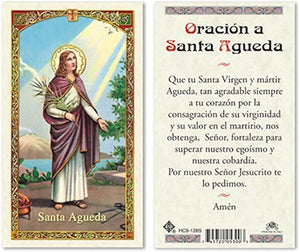 Prayer Card Oracion A Santa Agueda SPANISH Laminated HC9-128S