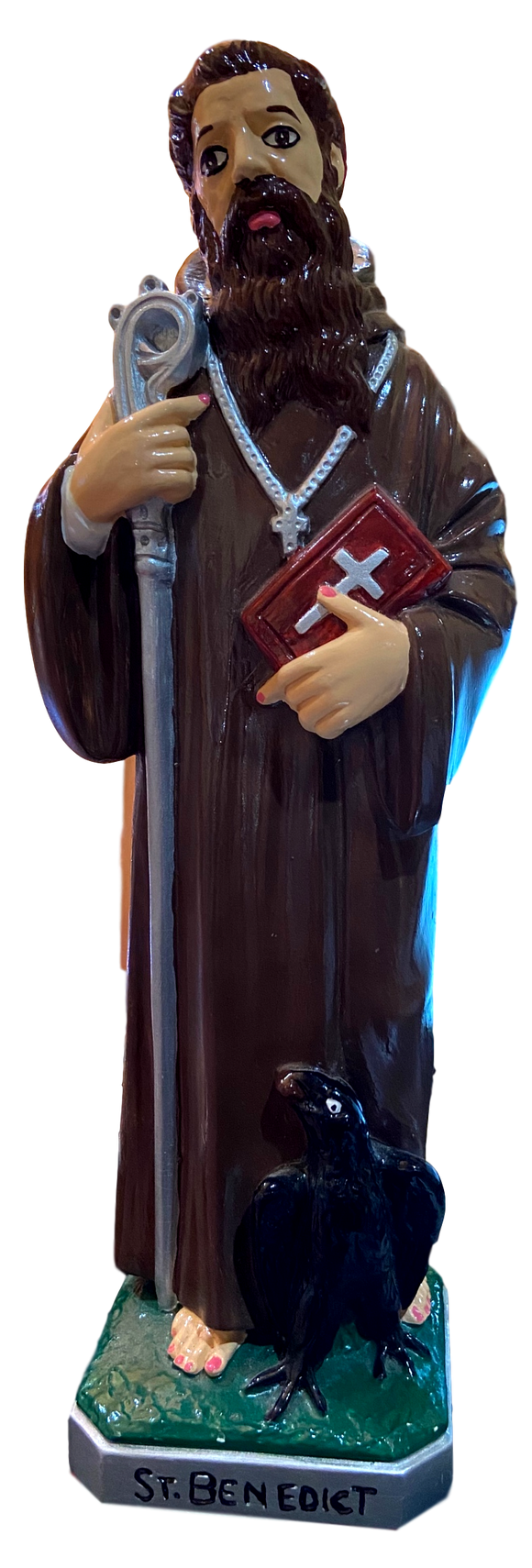 Statue Saint Benedict With Crow, Bible, Rosary and Staff 1958 Vintage Chalkware