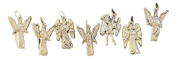 Charms Set of 7 Angels Oxidized Metal Names on Back of Medal Jump Ring Included Made in Italy 1