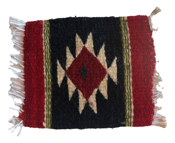 "Coaster Authentic Zapotec Handwoven Hand-Dyed Organic Wool Southwest Native Geometric Designs Rustic Barware from Teotitlan Del Valle Mexico  4.75""H x 6.5""W (4)"