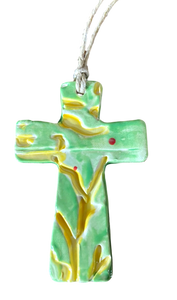 "Cross Ceramic Multi Color Design Engraved Local Artist Marbeth Ruiz 4"" x 2.5"" Green Branches 1"