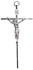 "Cross Crucifix Metal Silvertone 5"" Handcrafted in Mexico"