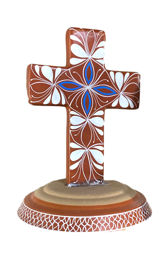 Cross Red Clay Attached Base Handcrafted In Mexico Blue Center Design